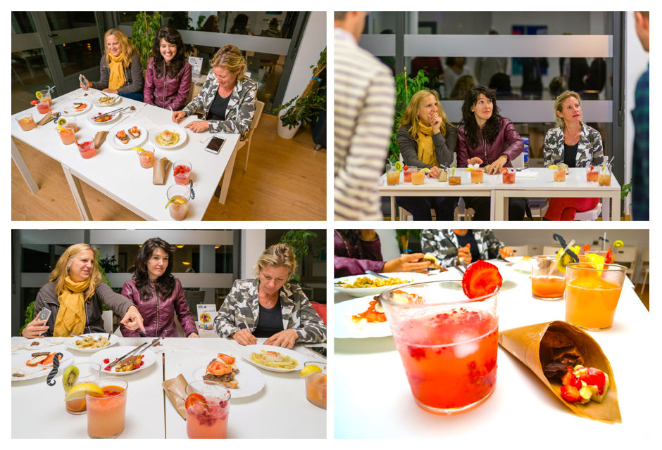 4 photos of judges tasting and commenting on food.
