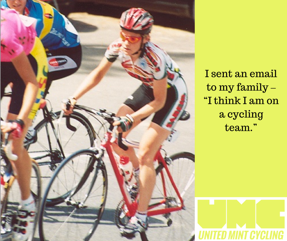 "This is a picture of Nikane Mallea racing in the Basque Country with a quote I sent an email to my family, ""I think I am on a cycling team."""