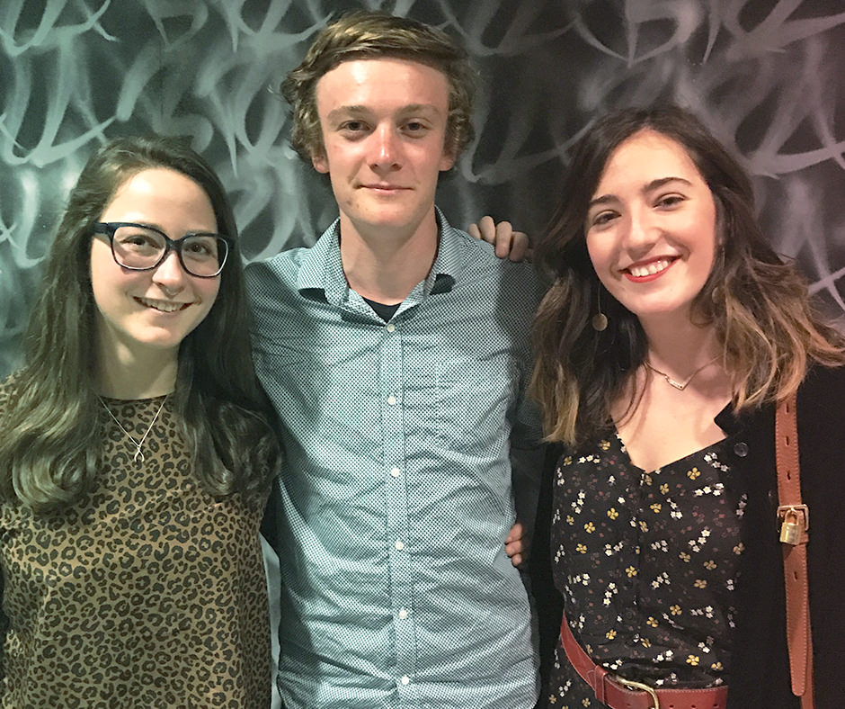 United Mint Campus internship abroad student – Ethan – posing for a photo with two other students, Heather and Ane.