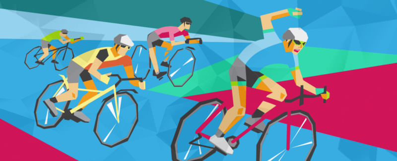 Illustration of a United Mint Cycling students racing across bright geometric shapes