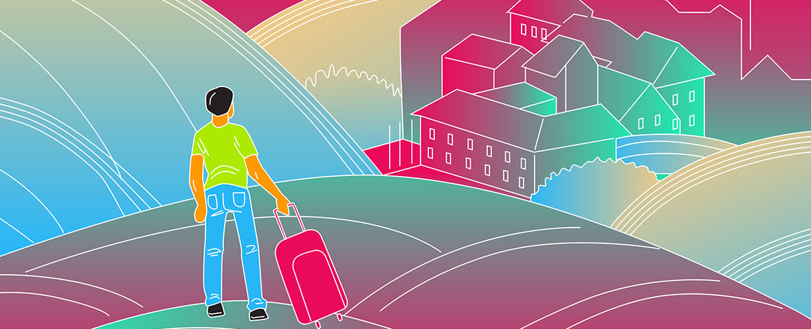 Illustration of a young United Mint Campus Gap Year student with suitcase looking out over a medieval town panorama.