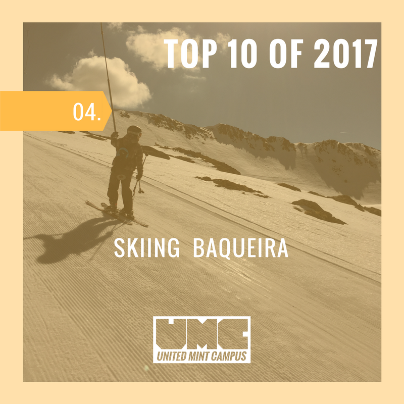 UMC Student rides the t-bar ski lift up Baqueria-Beret Resort.